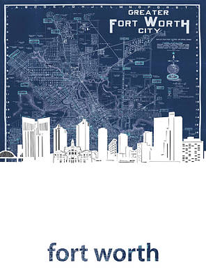 Abstract Skyline Royalty-Free and Rights-Managed Images - Fort Worth Skyline Map Blue by Bekim M