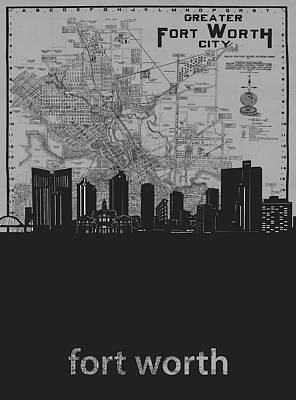 Digital Art - Fort Worth Skyline Map Grey by Bekim Art