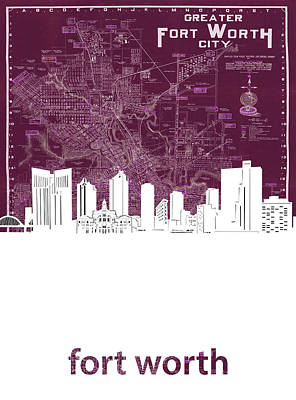 Abstract Skyline Royalty-Free and Rights-Managed Images - Fort Worth Skyline Map Red by Bekim M