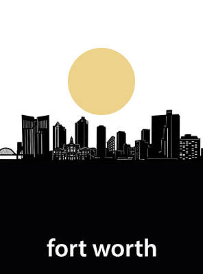 Digital Art - Fort Worth Skyline Minimalism by Bekim Art