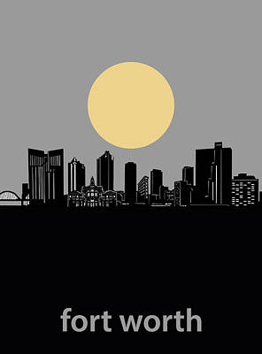 Digital Art - Fort Worth Skyline Minimalism Grey by Bekim Art