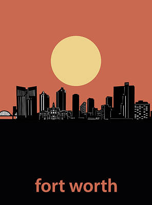 Digital Art - Fort Worth Skyline Minimalism Orange by Bekim Art