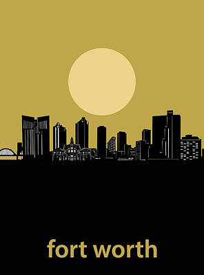 Digital Art - Fort Worth Skyline Minimalism Yellow by Bekim Art