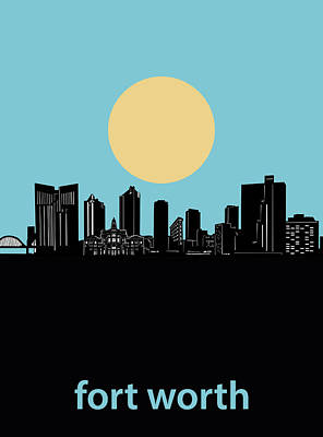 Digital Art - Fort Worth Skyline Minimalsim Blue by Bekim Art