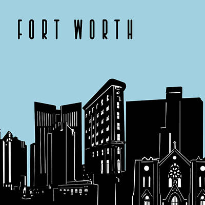 Digital Art - Fort Worth Skyline Panorama Blue by Bekim Art