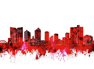 Digital Art - Fort Worth Skyline Red by Bekim Art