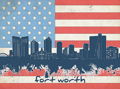 Digital Art - Fort Worth Skyline Usa Flag by Bekim Art