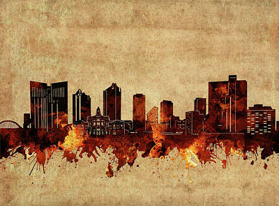 Abstract Skyline Royalty-Free and Rights-Managed Images - Fort Worth Skyline Vintage by Bekim M