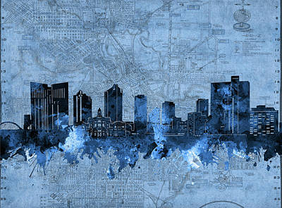 Abstract Skyline Royalty-Free and Rights-Managed Images - Fort Worth Skyline Vintage Blue by Bekim M