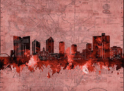 Digital Art - Fort Worth Skyline Vintage Red by Bekim Art