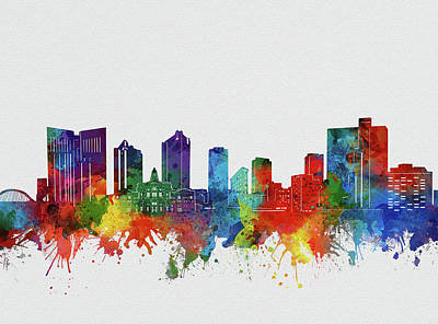 Abstract Skyline Royalty-Free and Rights-Managed Images - Fort Worth Skyline Watercolor 2 by Bekim M
