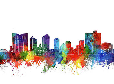 Digital Art - Fort Worth Skyline Watercolor by Bekim Art