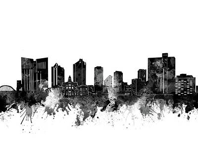 Digital Art - Fort Worth Skyline Watercolor Black And White by Bekim Art