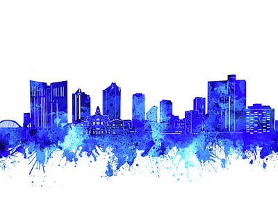 Abstract Skyline Royalty-Free and Rights-Managed Images - Fort Worth Skyline Watercolor Blue by Bekim M