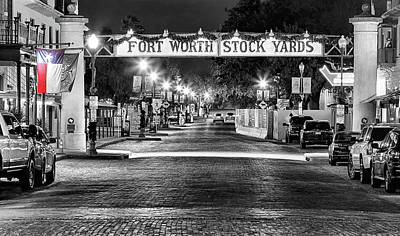 Photograph - Fort Worth Stock Yards Black And White by JC Findley
