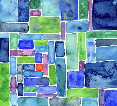 Music Paintings - Fortification - Abstract Watercolor Painting by Susan Porter