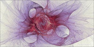 Digital Art - Fossilized Fractal Fire Violet by Doug Morgan