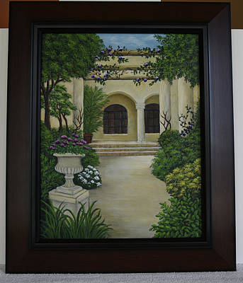 Painting - Mediterranean Courtyard by Gloria Johnson