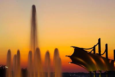 Fun Patterns - Fountain in Sunset by Stephen Cox
