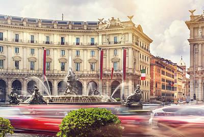 Digital Art - Fountain of the Naiads in Piazza della Repubblica, Rome City Cen by Tanel Murd
