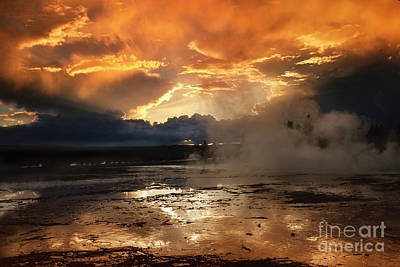 Photograph - Fountain Paint Pot Sunset - Yellowstone by Sandra Bronstein