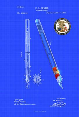 Digital Art - Fountain Pen Patent Drawing by Carlos Diaz