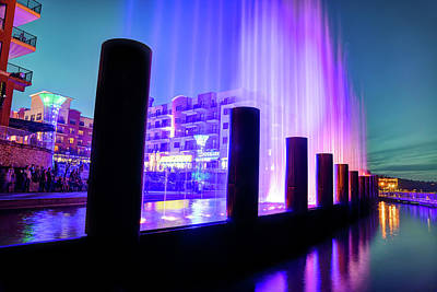 Photograph - Fountain Show At Branson Landing - Lake Taneycomo Waterfront by Gregory Ballos