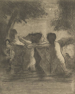 Relief - Four Bathers by Camille Pissarro