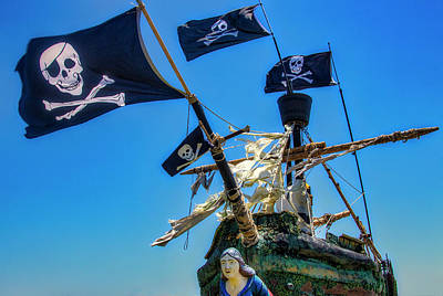 Photograph - Four Black Flags On Pirate Ship by Garry Gay