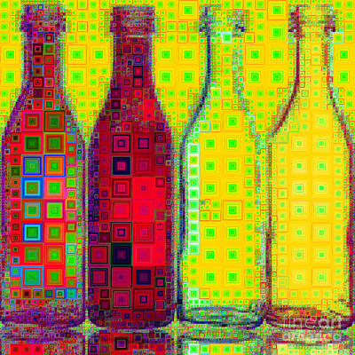 Photograph - Four Bottles In Abstract Squares 20190129a by Wingsdomain Art and Photography