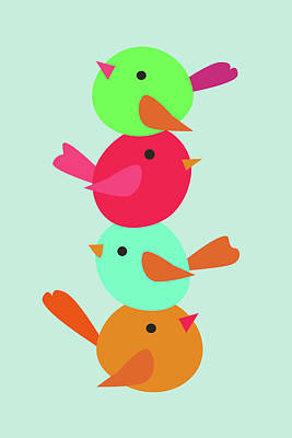Digital Art - Four colorful stacked birds by Mihaela Pater
