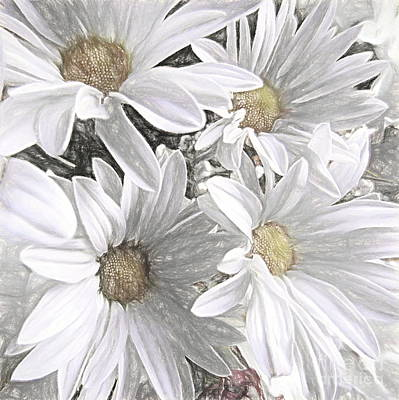 Mixed Media - Four Daisies by Susan Lafleur
