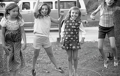 Photograph - Four Girls, Jumping, 1972 by Jeremy Butler