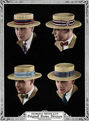 People Digital Art - Four Men Wearing Boater Hats by Graphicaartis