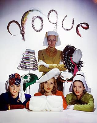 Photograph - Four Models In White Hats by Horst P. Horst