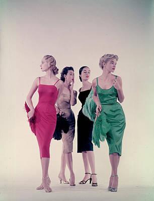Photograph - Four Models Wearing Sleek Underslips Cal by Gjon Mili