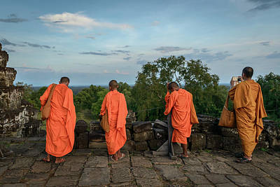 Photograph - Four Monks And A Phone. by Ian Robert Knight