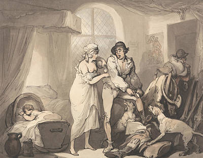 Drawing - Four O'clock In The Country by Thomas Rowlandson