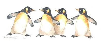 Wall Art - Painting - Four Penguins by Carolyn Shores Wright