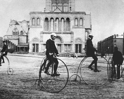 Photograph - Four People Riding Bicycles, Boston by Superstock