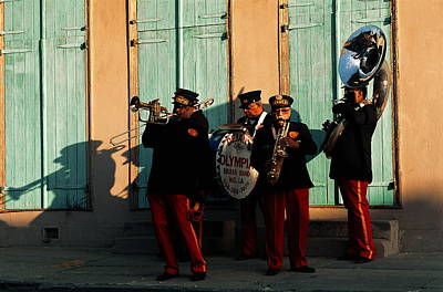 Sousaphone Wall Art - Photograph - Four Piece Street Band In New Orleans by Tim Bieber