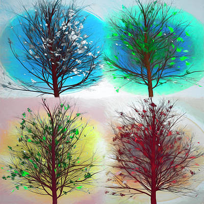 Digital Art - Four Seasons Square Beach Art by Debra and Dave Vanderlaan