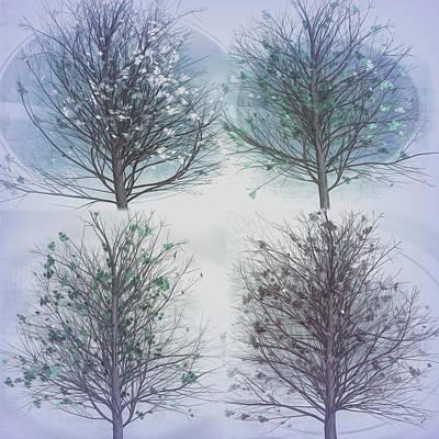 Digital Art - Four Seasons Square Cool Gray Tones by Debra and Dave Vanderlaan