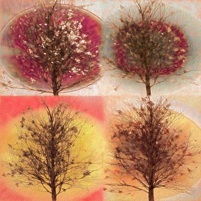 Digital Art - Four Seasons Square Nature Tones by Debra and Dave Vanderlaan
