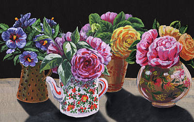 Painting - Four Vases With Garden Flowers Impressionism  by Irina Sztukowski