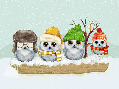 Four Winter Owls Art Print