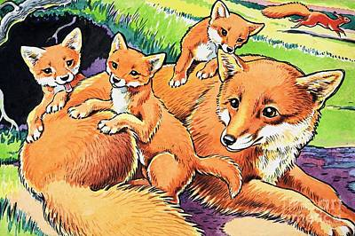 Painting - Fox And Her Cubs by Harry M Pettit