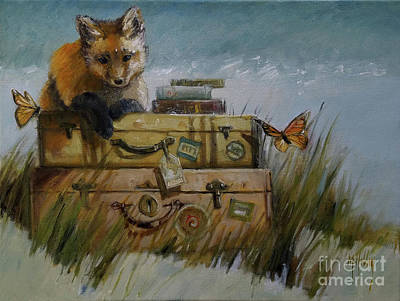 Painting - Fox And The Suitcases by Mary Hubley