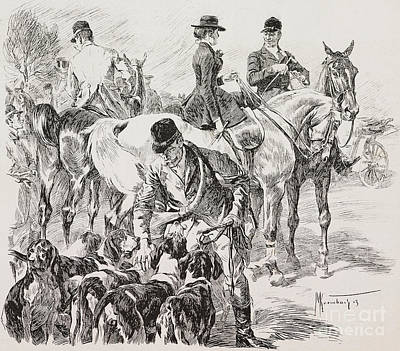 Drawing - Fox Hunt Scene by English School
