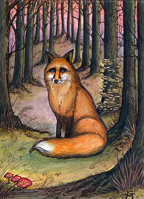 Painting - Fox In The Woods by Katherine Miller